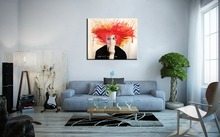 Style Modern Abstract Figure Painting Number 100% Hand Painted Wall Art Man Red Hair Black Oil Canvas - Queens Store store