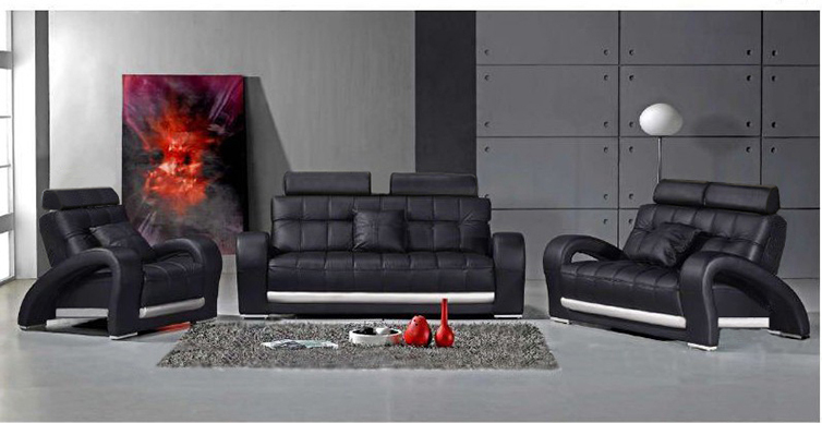 dark grey sofa living room sofa set modern leather sofa foshan b2023