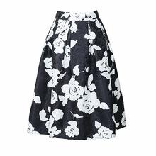 2016 Vintage Style Floral Printed Women Fashion Skirt Elastic High Waist A-Line Midi Swing Knee-Length Empire Waist Ladies Skirt