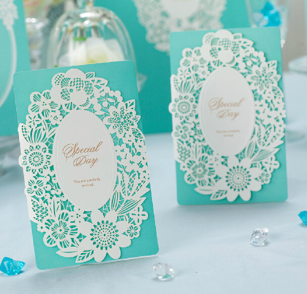 Blue Lace Inviting Card Elegant Laser Cut Paper Event Party Supplies Decoration Flower Floral Romantic Wedding Invitation - Worldy Store store