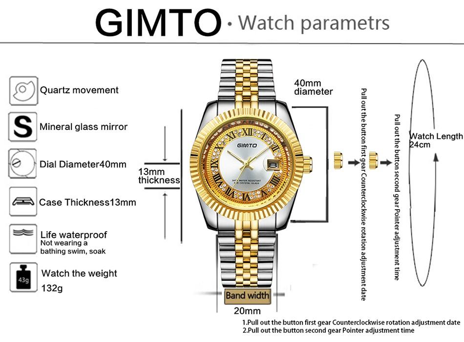 2016 Роскошные GIMTO Золото Кварцевые часы Мужчины Бизнес Часы Из Нержавеющей Стали Дата Водонепроницаемый Мужской Часы Relogio Masculino Montre