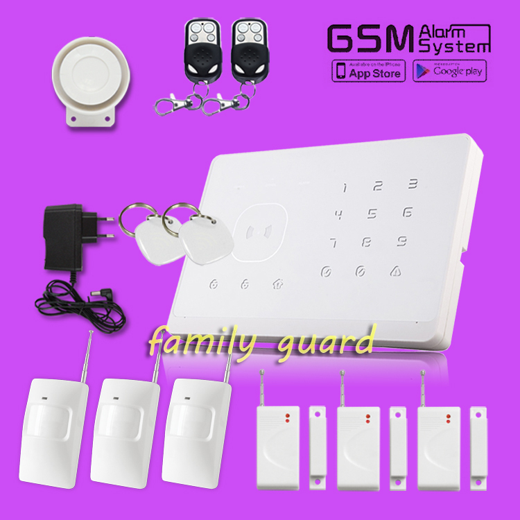 Free shipping!WOLF GUARD Android IOS APP Control Touch Keypad wireless GSM SMS Security Alarm system+3 PIR+3 Door sensor+2 RFID<br><br>Aliexpress