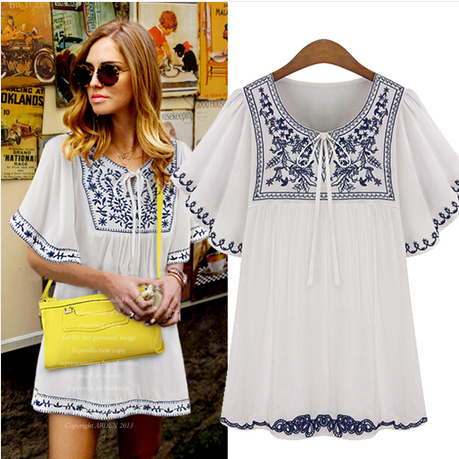 2016 Novelty Vintage Brief Women Chiffon Shirt Loose Fit Ethnic Style Black&white Porcelain Embroidery Ladies High Street Blouse(China (Mainland))