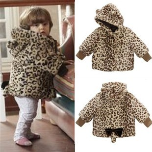 Animal style leopard print paragraph thickening cotton-padded jacket outerwear winter baby clothes 1 - 2 years old