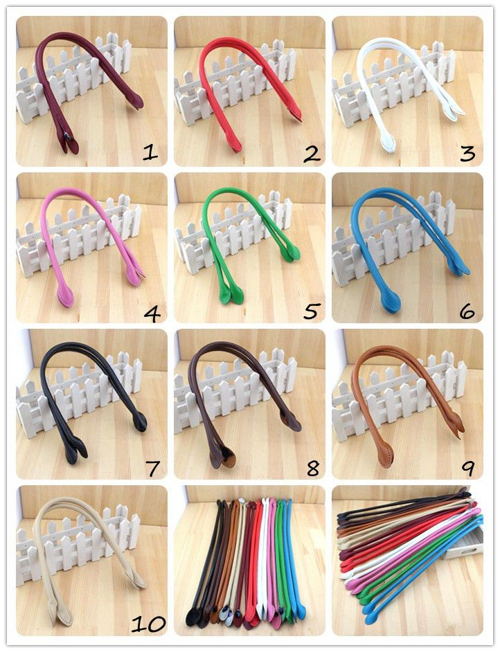 retail 1pcs Multicolor long pattern 57CM simple ear style PU leather handle bag belt DIY Lady Handbag accessories(China (Mainland))