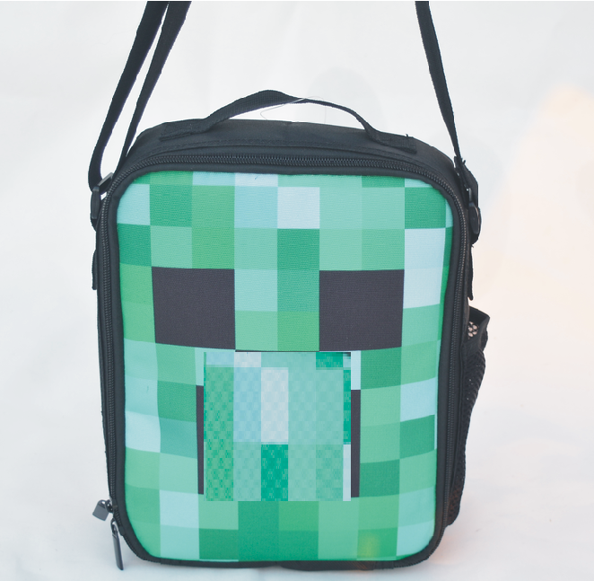 2016 Hight quality cartoon minecraft messenger lunch bag for sports teenagers anime cross body handbag minecraft lunch box(China (Mainland))