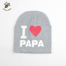 I LOVE PAPA MAMA Print Baby Hats Baby Knitted Warm Cotton Beanie Hat Toddler Baby Kids Girl Boy Hats(China (Mainland))