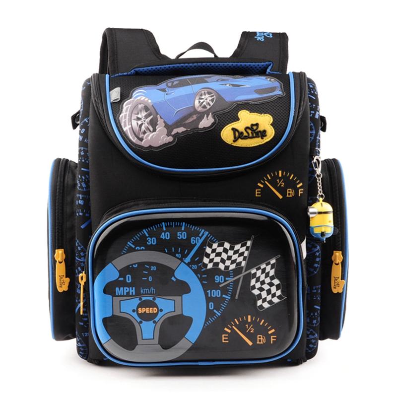 2017 Hot Boys School Bags Dark Blue Cars Aircraft Children's Orthopedic Backpack Fashion New Mochila Infantil Bolsas Primary 1-5