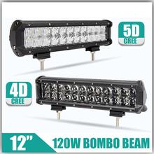 "120W 12"" 4D/5D Fish-Eye Lens Straight Auto LED Bar OffRoad Led Light Bar Combo Led Work Light 12v 24v For Truck SUV Boat ATV Car(China (Mainland))"