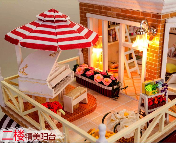 New merchandise massive DIY picket doll home European espresso store miniatures dollhouse miniature retailer  D011