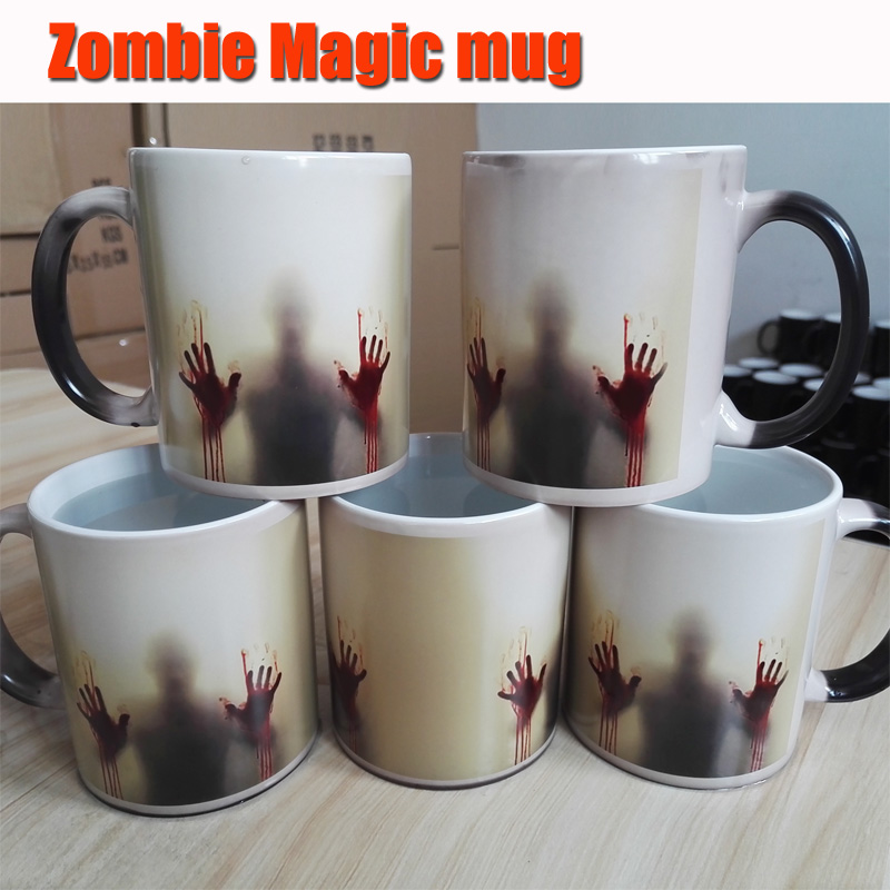 Zombie Color Changing Black Magic Coffee Cup Tea Mugs heat sensitive two sides printing with Bloody hands(China (Mainland))