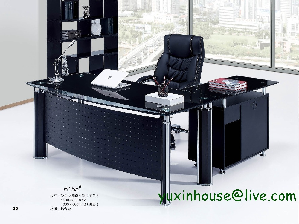 Tempered Glass Office Desk Boss Desk Table Commercial