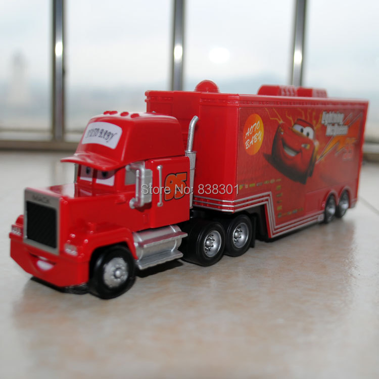 5pcs/pack Wholesale 1/55 Scale Pixar Cars 2 Toys Race Team Mack Hauler Truck Diecast Metal Car Toy For Children -Free Shipping(China (Mainland))