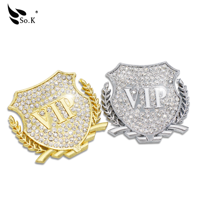 3D car Rhinestone stereo metal fashion VIP labeling car with diamond logo high-grade decorative aluminum stickers sidehead(China (Mainland))