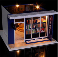 DIY Doll House Book Store Dollhouse Miniatures LED Furniture Kit Light Box Gift FPP(China (Mainland))