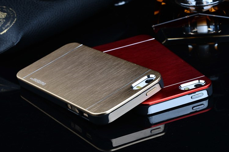 Fashion PC + aluminum back Aluminum Back Metal electroplate wire drawing Case Cover For Apple iphone 5 iphone 5S i5 phone shell(China (Mainland))