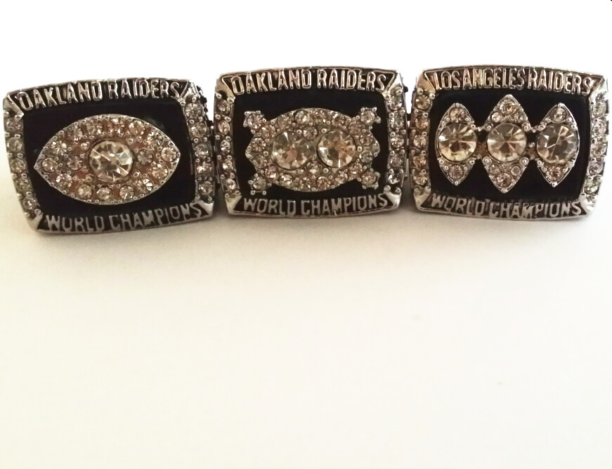 3pc per set 1976 1980 1983 Oakland Raiders super bowl world series championship rings replica size 8 to 14 drop shipping(China (Mainland))