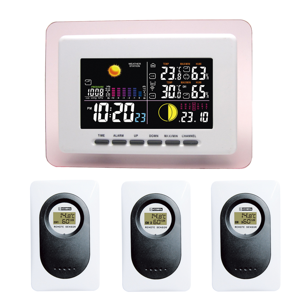 RF RCC Wireless Backlight Weather Station with Indoor Outdoor Temperature Humidity Barometer Digital Alarm Clock 3 Transmitters