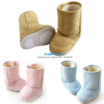 Fashion  Free Shipping 1pc Baby Boy Girl Infants Kids Toddler Autumn Warm Fur Shoes Snow Boots Bottom Prewalkers Pink Blue 6-24M