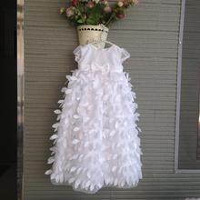 New Baby boy girl white Christening Gown Floor-Length Feathers wedding dress Newborn formal Baptism dress Infant clothes(China (Mainland))
