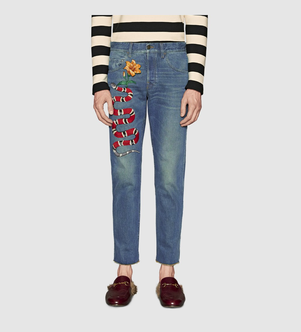 2016 Women Famous Brand Fashion snake flower Embroidery Skinny Jeans casual pencil denim ninth pants Jeans(China (Mainland))