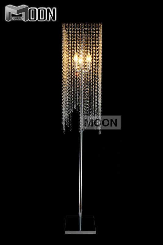 Free Shipping Modern Popular Crystal Floor Lamp, Chrome Floor Stand lighting Meerosee stand lighting FL10008(China (Mainland))