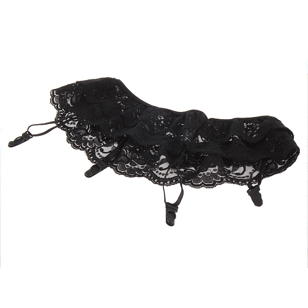 2016 Summer Style wholesale Black Sexy Lady 2 Layer Floral Lace Garter Belt Lingerie Skirt Stocking Suspender Free Shipping(China (Mainland))