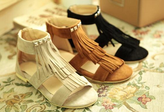 Бахрома рим стиль летняя обувь свободного покроя женщина обувь sandalias mujer размер ...