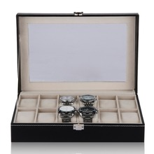 2016 Luxury Brand Watch Display Black Box Faux Leather 12 Grid Case Jewelry Storage Organizer For Watches caja reloj