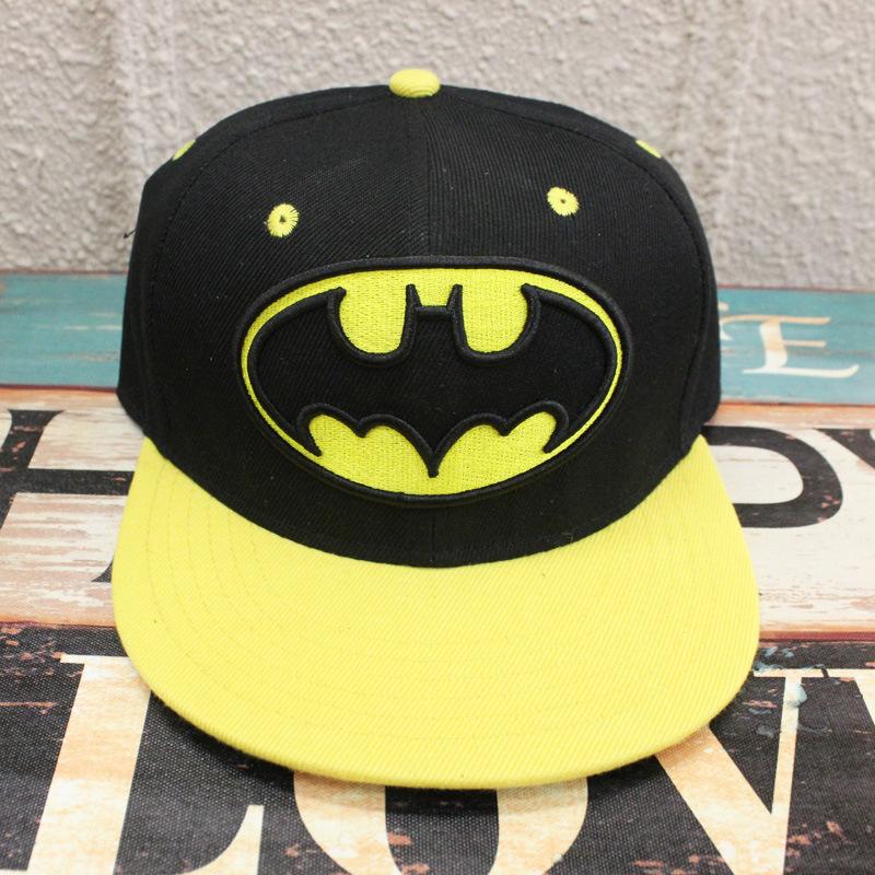 2016 Cartoon accessories hip pop hat Batman black yellow cap girls boy cool baseball hat friend gifts CA281(China (Mainland))