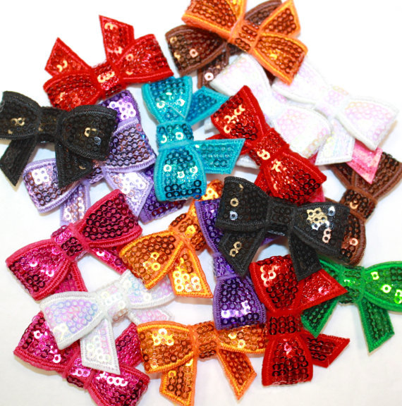 Mini  2 Inch Sequin Bows Sequin Bow Applique Set of 20 Wholesale Sequin Bows For Headbands and Clips Girls Hair AccessoriesОдежда и ак�е��уары<br><br><br>Aliexpress