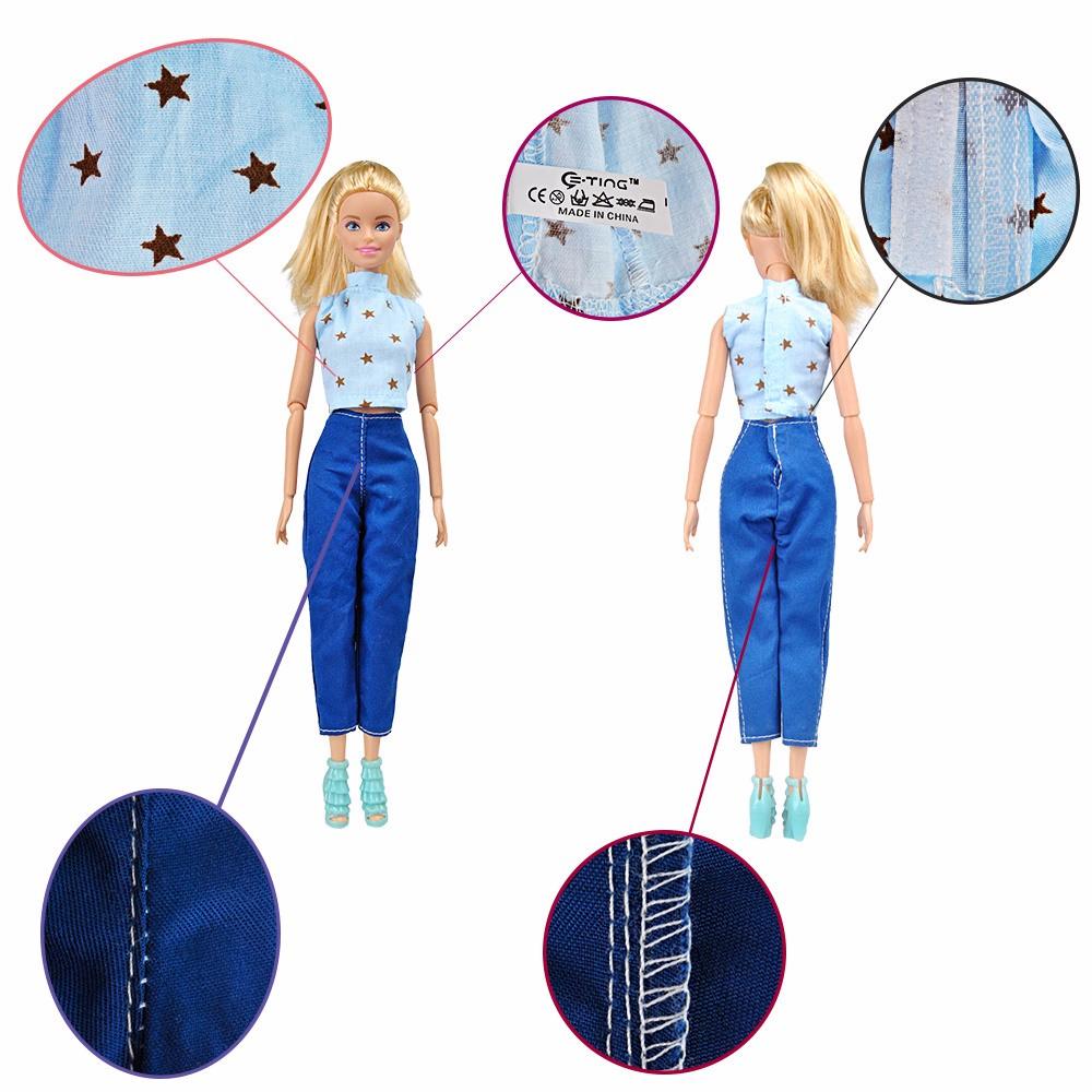 E-TING 5 Set Handmade Doll Garments Tops Shirt Pants Trousers for Barbie Dolls Random