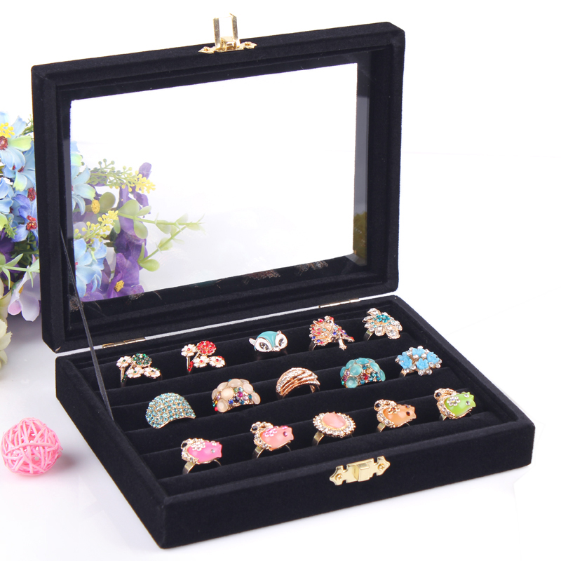 Fashion Black Jewelry Accessories Box Rings Storage Case Jewelry Cosmetic Organizer Cases With Glass Cover Ring Display Holder(China (Mainland))