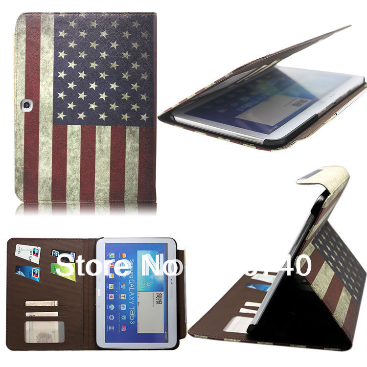 store product UK USA Flag PU Leather Case Cover With Card Holder for Samsung Galaxy Tab