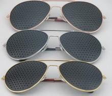 NEW Unisex Vision Care Pin hole Eyeglasses Pinhole Glasses Eye Exercise Eyesight Improve metal