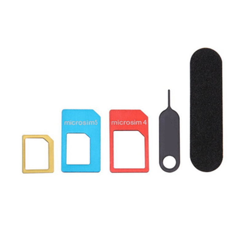 5 in 1 Nano SIM Card to Micro Standard Coverters Adapter Adaptor Set for iPhone Accessories