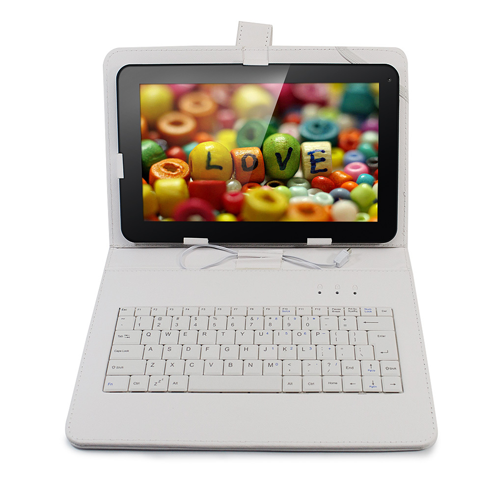 White fold Folio 9.7 10 inch tablet keyboard case cover with usb cable for universal 9.7 10 inch tablet pcs from China or US(China (Mainland))