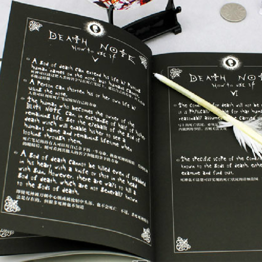 cool Death Note 1pc Notebook Feather Pen Writing Book Notebook Cosplay Japaness Anime Theme School(China (Mainland))