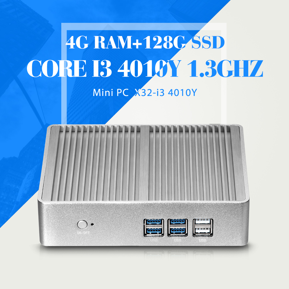 Fanless Design Mini PC I3 4010Y 4G RAM 128G SSD Desktop Computer Support Win 7 XP System Thin Client Latest Mini Computer(China (Mainland))