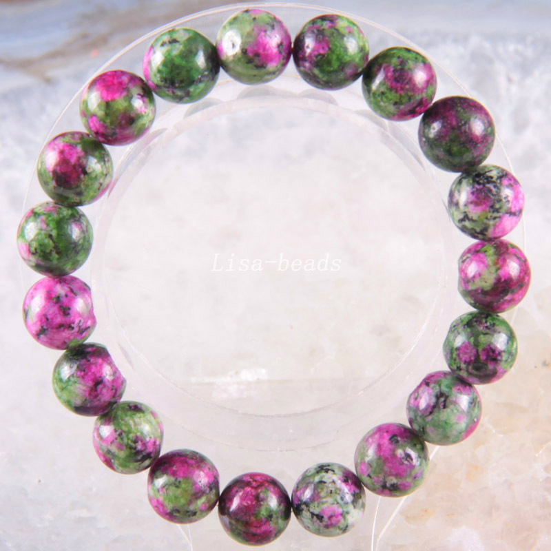 """Stretch 10mm Round Beads Natural Stone Green Red Emerald Bracelet 8"""" 1Pcs LH1742(China (Mainland))"""
