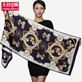 Vintage Luxury brand designer heavy silk satin floral scarf women winter Accessories sheer celebrity scarves infinity