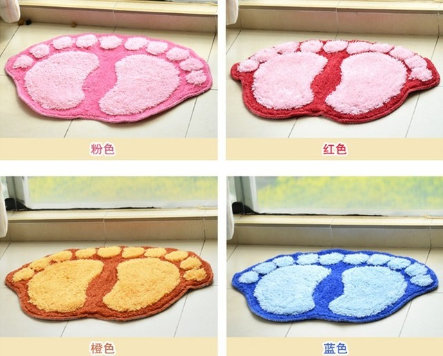 Min. order is $15 (mix order) Aq3841 flock printing big feet waste-absorbing slip-resistant bath mat double feet doormat mat