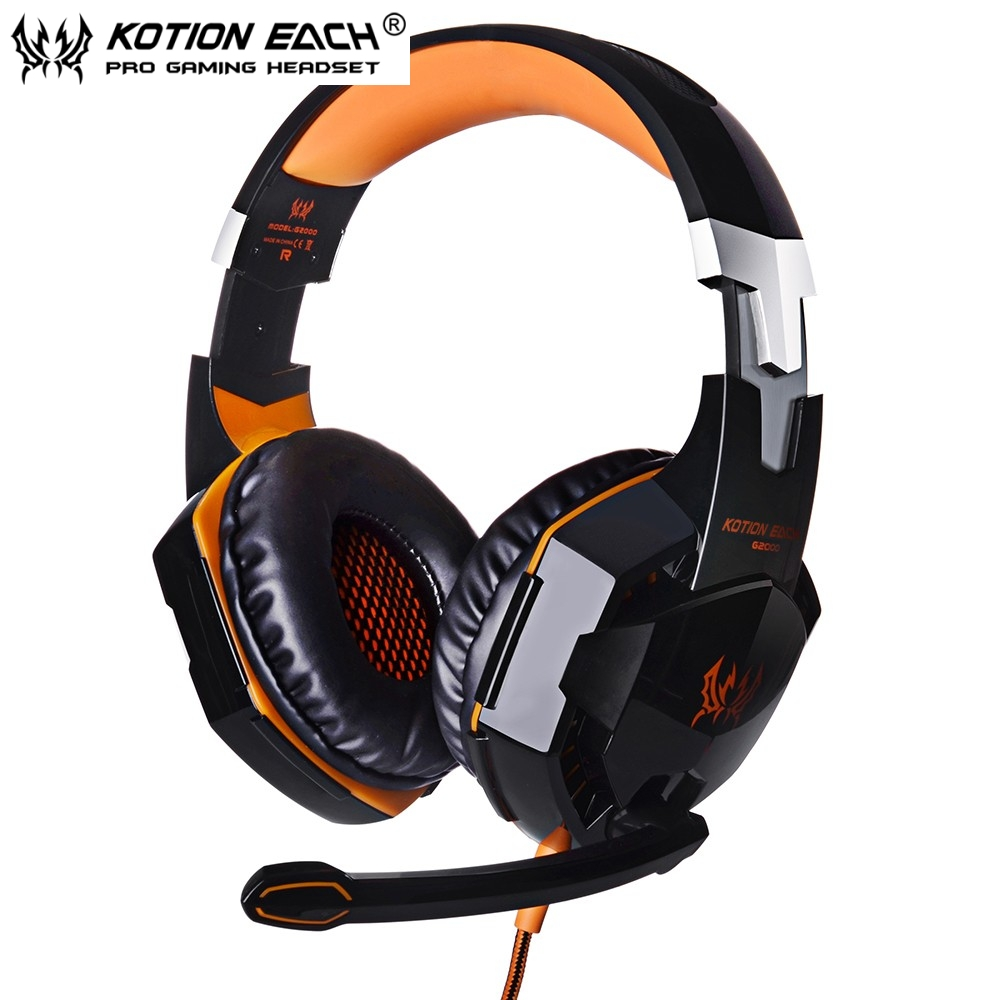 EACH G2000 Deep Bass Stereo Gaming Headphone Noise Isolation Headset Headband with Microphone Led Light for Computer PC Gamer