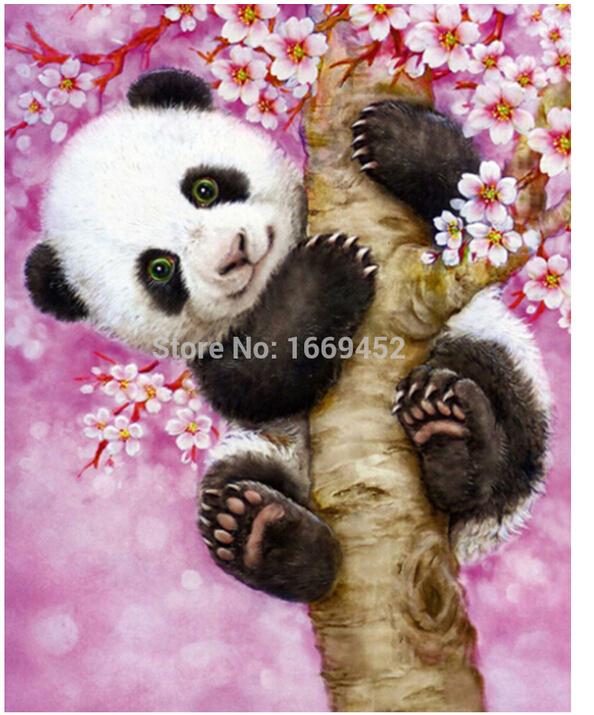 5d pictures of mosaic diamond embroidery cards Panda on the tree diamond painting diamond pattern beads embroidery kit beadwork(China (Mainland))