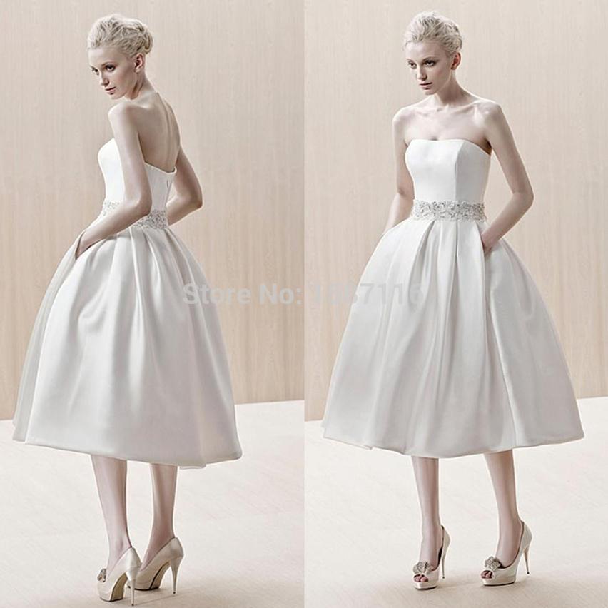 2015 5 fashionable short wedding dresses strapless tea for Plus size tea length wedding dresses