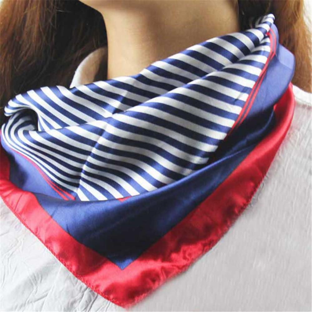 Feitong New Hot Satin Silk Square Scarf Women Fashion Four Seasons Occupation Stripe Silk Satin Scarves(China (Mainland))