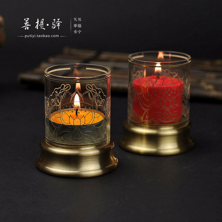 Copper lamp holder with a small windshield glass candle holder copper Buddhist lotus butter lamps, single price(China (Mainland))