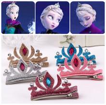 1pc!Cartoon Elsa Princess Barrette Girls Hair Clips Anna&Elsa Birthday Crown HairPin Children Colored sequined headwear Tiara