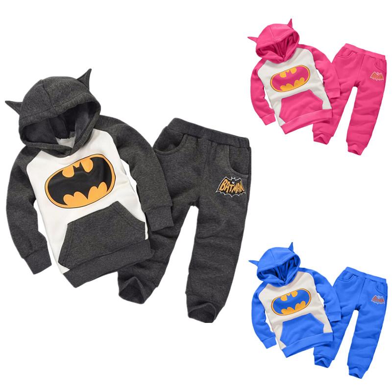 2016 New Children Outfits Tracksuit Batman Clothing Children Hoodies + Kids Pants 2 pcs kids Sport Suit girls Clothing Set(China (Mainland))