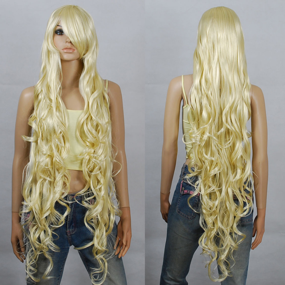 Blonde Extra Long Cosplay Wigs Seamlessly Contours for women wig fast deliver